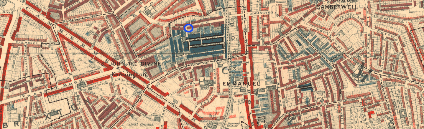 Detail of Booth's poverty map: 59 Bethwin Road ringed in blue. © LSE.