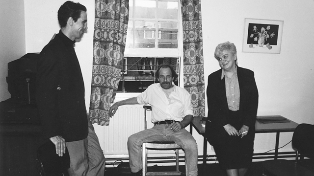 Jim Finn and Sally Martin with a resident at Bethwin Road.