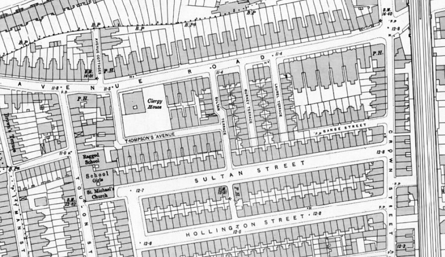 Detail from Ordnance Survey Map, 1895, showing the 'clergy house' at no.59. (Map courtesy National Library of Scotland)