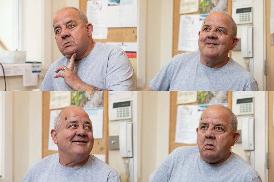 Four of the many faces of Bob Evans, who is retiring from the front desk at Linden Grove.
