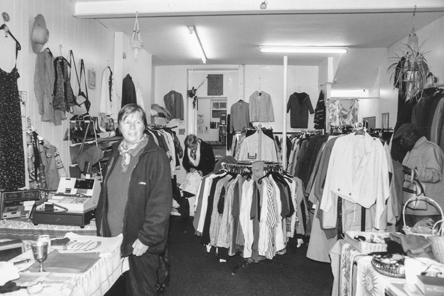 Sally Fallon, our first admin worker, in one of the Clapham High Street charity shops.